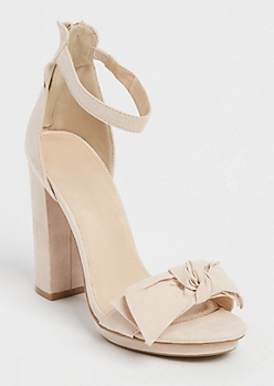 Nude Faux Suede Bow Heel By Wild Diva