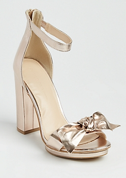 Rose Gold Faux Leather Bow Heels By Wild Diva