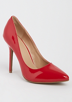 Red Faux Patent Leather Stiletto By Wild Diva