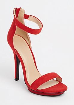 Red Ankle Strap Stilettos