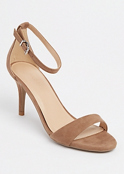 Taupe Buckled Ankle Strap Stilettos