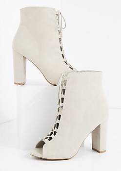 Gray Lace Up Super Heel Shootie by Qupid®