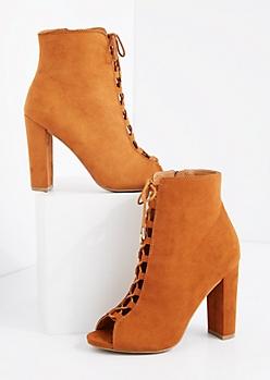 Cognac Lace Up Super Heel Shootie by Qupid®