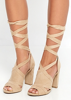 Tan Mock Suede Lace Up Shootie by Wild Diva®