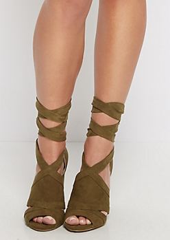 Olive Mock Suede Lace Up Shootie by Wild Diva®