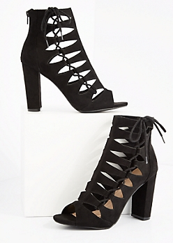 Black Cutout Lace Up Side Shootie by Wild Diva
