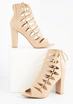Light Nude Cutout Lace Up Side Shootie by Wild Diva