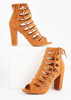 Cognac Cutout Lace Up Side Shootie by Wild Diva