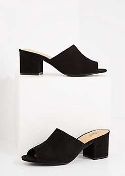 Black Faux Suede Open Toe Mule Heel