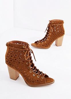 Cognac Daisy Cut Peep Toe Heel
