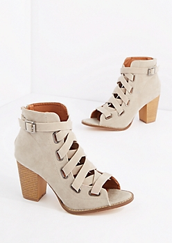 Criss-Cross Banded Mock Suede Shootie