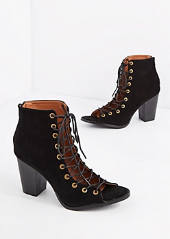 Black Lace Up Mock Suede Shootie