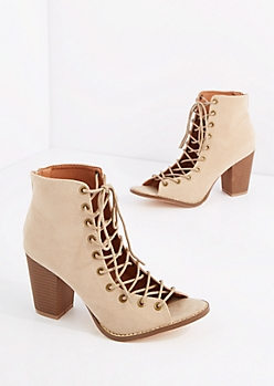 Nude Lace Up Mock Suede Shootie