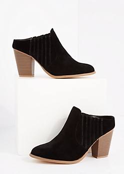 Black Side Gore Stacked Heel