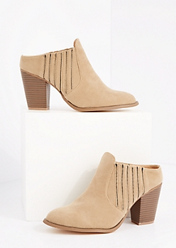 Taupe Side Gore Stacked Heel