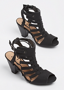 Black Cut Out Stacked Heel