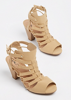 Taupe Cut Out Stacked Heel