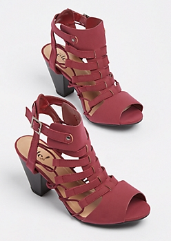 Burgundy Cut Out Stacked Heel