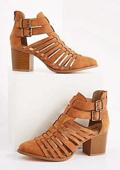 Faux Leather Strappy Stacked Heel