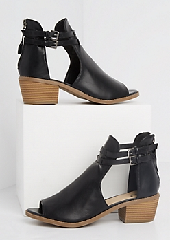 Black Buckled Peep Toe Stacked Heel