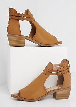 Cognac Buckled Peep Toe Stacked Heel