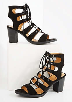 Black Faux Suede Lace-Up Stacked Heel