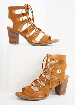 Cognac Faux Suede Lace-Up Stacked Heel