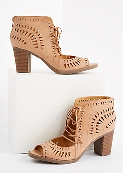 Tan Geo Cutout Stacked Heel