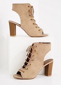 Whipstitch Open-Back Stacked Heel