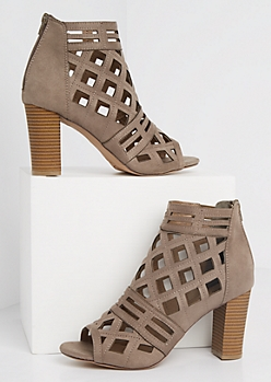 Geo Cutout Stacked Heel