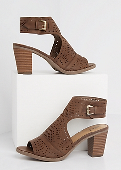 Geo Perforated Stacked Peep Toe Heel