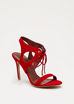 Red Cut-Out Laced Heel