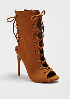 Brown All Laced Up Heel By Shoe Republic®