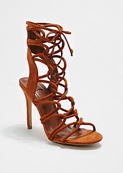 Brown Open-Toe Gladiator Heels