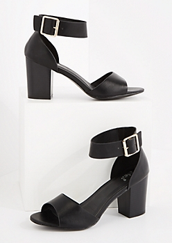 Black Buckled Ankle Stacked Heel