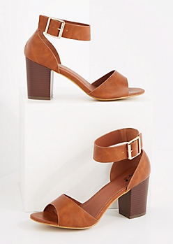 Cognac Buckled Ankle Stacked Heel