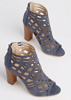Blue Diamond Cutout Stacked Heel