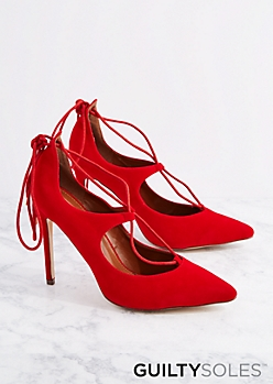 Red Dakota Lace-Up Pump By GuiltySoles