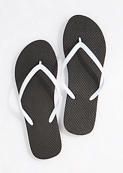 Black & White 2-Tone Flip Flops