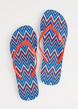 Blue Americana Chevron Flip Flops