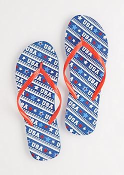 Navy USA Stripes Flip Flops