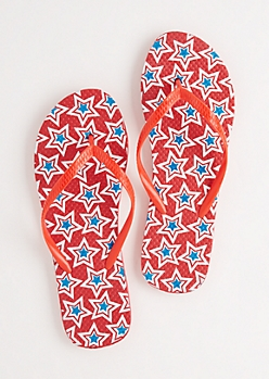 Red Americana Double Stars Flip Flops