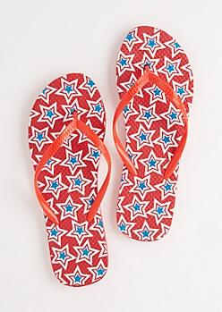 Red Americana Double Stars Flip Flops