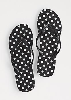 Black Polka Dotted Flip Flops