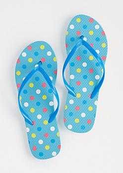Blue Polka Dotted Flip Flops