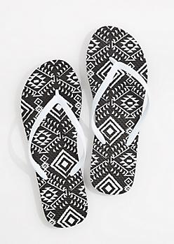 Black & White Geo Aztec Flip Flop