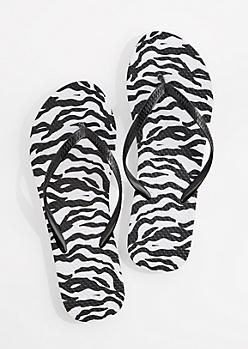 Black & White Zebra Flip Flop
