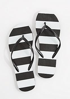 Black & White Block Striped Flip Flop
