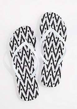 Black & White Dot Chevron Flip Flop