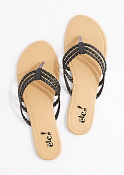 Black Tri-Layered Braided Flip Flop